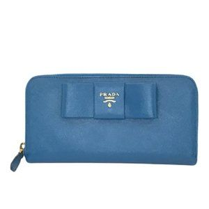 Prada Saffiano Ribbon Bow Zippy Long Wallet